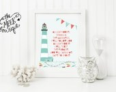 INSTANT DOWNLOAD, My Lighthouse Lyrics, Rend Collective, Nautical Printable, No. 396