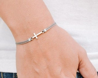 Cross bracelet, women bracelet with silver cross charm, christian catholic jewelry, gray cord, gift for her, bridesmaids gift, grey bracelet