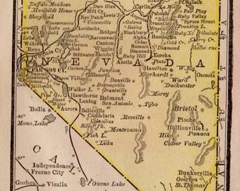 Antique NEVADA Map of Nevada State Map RARE Size Antique 1886  MINIATURE Map  Plaindealing 5537
