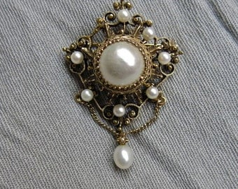 1930s Etruscan Large Pearl and 14K Pendant or Brooch