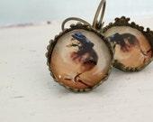 Antique Bronze Earrings Chicken Wearing A Newsboy Hat Farm Animal Jewelry Chicks in Hats
