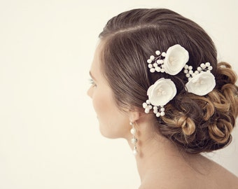 Wedding Hair Accessory, Ivory Wedding Hair Flowers, Wedding Hair Piece, Bridal Hair Accessories, Bridesmaids Hair