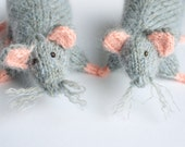 Grey rats - two knit rats - Wedding gift for a couple - knit miniature animal sculpture - rat mouse toy for kids lab rat realistic amigurumi