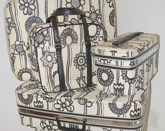 60s Samsonite Fashionaire Mod Black and White Floral Marimekko Suitcase 5 Piece Luggage Set