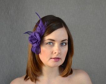 Purple Sinamay Fascinator with Rose - Bridesmaid Fascinator