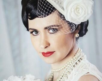 Cream Bridal Fascinator with Silk Rose and Birdcage Veil - White Bridal Teardrop Fascinator - Ivory Wedding Hat
