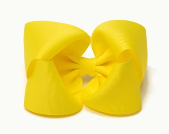 Yellow Hair Bow, Hair Bows, Hair Bows for Girls, 5 Inch Hair Bows, Toddler Bows, Girl Hair Bows, Extra Large Hair Bows, Hairbows, Big Bows