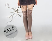 20% SALE - Orchid brunches: peach and mocha leggings with flower print