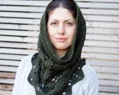 Crochet pattern lace leaves women snood cowl woman  loop scarf neckwarmer, DIY tutorial, Instant Download