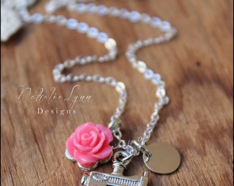 Sewing Necklace, Sewing Machine Necklace, Seamstress Necklace, Silver Necklace, Personalized Necklace