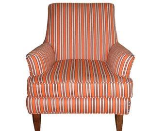 Vintage Reupholstered Orange Striped Armchair