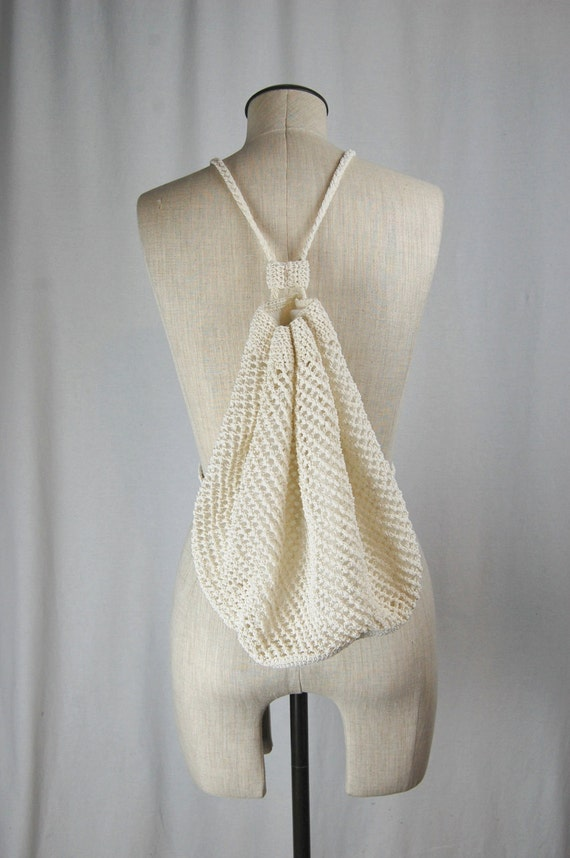 Crochet Drawstring Bag : Vintage Crochet Drawstring Backpack Mini Bag Satchel Rucksack 90s ...
