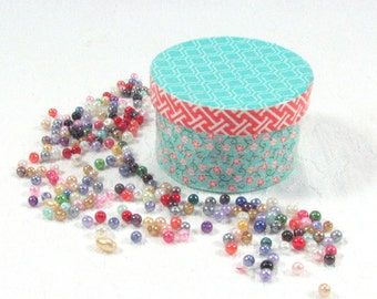Asian floral Mini Round Trinket Box in aqua and coral