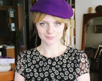 Vintage 50 purple wool hat