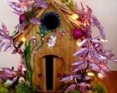 Enchanting ..Springtime Fairy House..Lights.......OOAK...Made for Carol Fowler