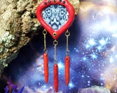 Red tribal shamanic pendant with howlite spikes