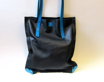 Leather tote bag, Womens shopping bag, black and aqua blue leather tote