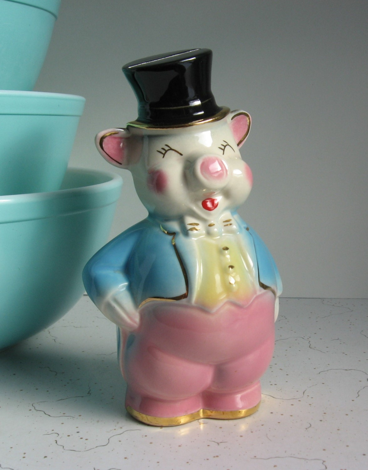 Vintage Ceramic Piggy Bank Pig In Top Hat And Tails Pink