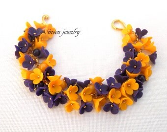 Flower Bracelet Violet Jewelry Yellow Jewelry Flower Jewelry Charm Bracelet Romantic Jewelry Polymer Jewelry Spring Jewelry Gift For Her