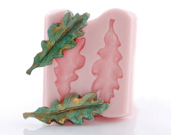Silicone Mold Oak Leaf - Flexible Mold - Resin, Polymer Clay, Epoxy Clay, Jewelry Craft Mold - Food Safe Fondant Gum Paste Mint Mold  (743)