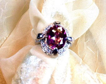 Art Deco Mystic Topaz Ring in Sterling Silver Large Cross Prong