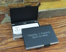 Personalized Business Card holder Double Sided- Office gift- New job- Salesman