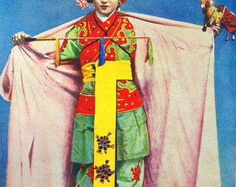 1920s CHINA Boy Actor and BUDDHIST MONK Doublesided Lithograph Print