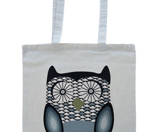 Owl tote bag, cute wide eyed owl design cotton tote with long handles