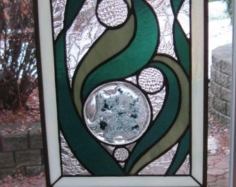 Stained glass - suncatcher - Wall Art - Seaweed and Bubbles - original design - SC-007