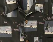 Vintage Shirt, Hawaiian Shirt, Silk Shirt, France Theme, Loop Collar, Bobby Chan, Cannes, St Tropez, Boats, French Riviera Resort, Medium