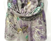 HandPainted Shawl. Gold Dragonfly Silk Scarf. Genuine Art on Silk. Woman Anniversary Birthday Bridal Wedding Gift. 18x71in MADE to ORDER