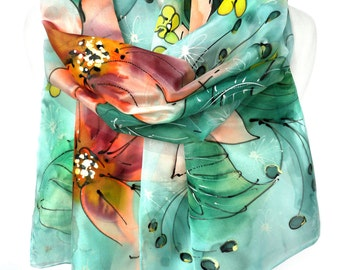 Hand Painted Scarf. Silk Floral Scarf. Aquamarine Genuine Authentic Art. Woman Birthday Gift. Echarpe Foulard. 14x71in (35x180cm) Ready2Ship