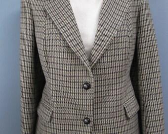 Vintage Navy Green Houndstooth Blazer Equestrian Wool Jacket