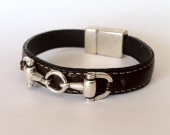 leather bracelet , horse bracelet , leather bracelet,  leather bit  bracelet, magnetic clasp. equestrian jewelry, for men, women and kids