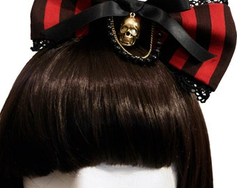 Elegant Red and Black Striped Pirate Lass Bow - Made to Order