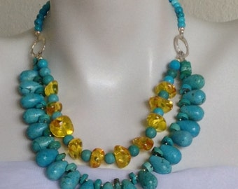 Chunky Turquoise Necklace, Amber, .925 Sterling Silver