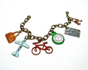 Travel Bracelet, Travel Charm Bracelet, Colorful Charm Bracelet, Antiqued Brass Bracelet, Vacation Jewelry, World Traveler Jewelry