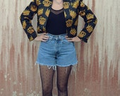 SALE!!! -30%-- 90s 80s QUILTED CROWN jacket - fresh prince gold and black  S - M