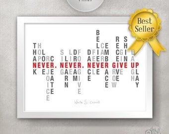 NEVER GIVE UP College Dorm Room Decor / College Freshman Gift Idea /  Inspirational Quote Poster / Motivational Home Decor // 11x14