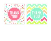 Sprinkles & Confetti Party Favor Tags - Neon Chevron Thank You Tags - Girls Birthday Party Printable Favors