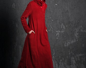 2015 New Red linen women dress (C497)