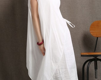 White Linen Layered Dress - Loose-Fitted Feminine Casual Sleeveless Summer Dress with Asymmeyrical Layer (C408)