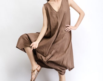 Linen Maxi Dress Brown Tan Women Summer Dress  (C488)