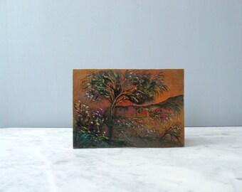 Original painting. landscape painting. Vintage art.