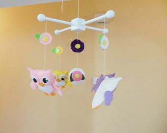 Baby Mobile- Baby Crib Mobile- Owl Mobile- owls- Tree Crib Mobile-Flowers- New item