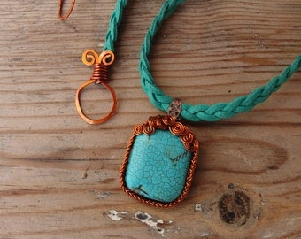 Leather Turquoise Necklace - Wire wrapped Rustic Gemstone Jewelry Leather