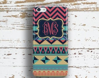 BFF Gifts, iPhone 6 case, Aztec iPhone 6s case, Tribal iPhone 5c case, Cute Iphone 5 case, Monogram Iphone 5s case, Red navy aqua  (1273)
