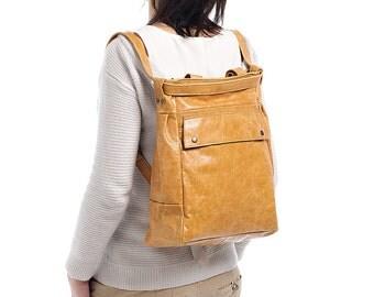 Tan leather backpack - Convertible backpack - Distressed leather bag - laptop bag - ARTE bag