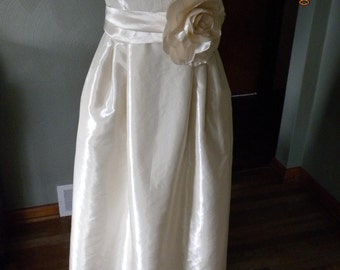 Custom Made Wedding Gown JCrew Inspired Sascha Sweetheart Neckline Pleated Skirt Strapless Taffeta Sash  Misses Plus Size Made in USA