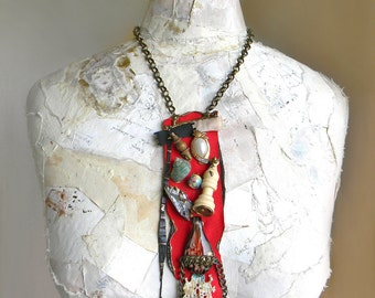 Steampunk Bib Necklace, Statement Necklace, Steampunk Jewelry, Mixed Media Jewelry with Raw Crystal Quartz, Red Necklace, Assemblage Jewelry
